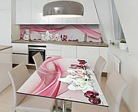 Наклейка 3Д виниловая на стол Zatarga «Черешневые орхидеи» 650х1200 мм для домов, квартир, столов, кофейн,, фото 1