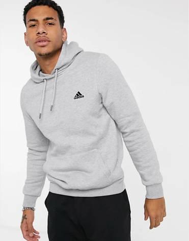 Мужская спортивная кофта кенгуру, толстовка Adidas (Адидас) серая, фото 2