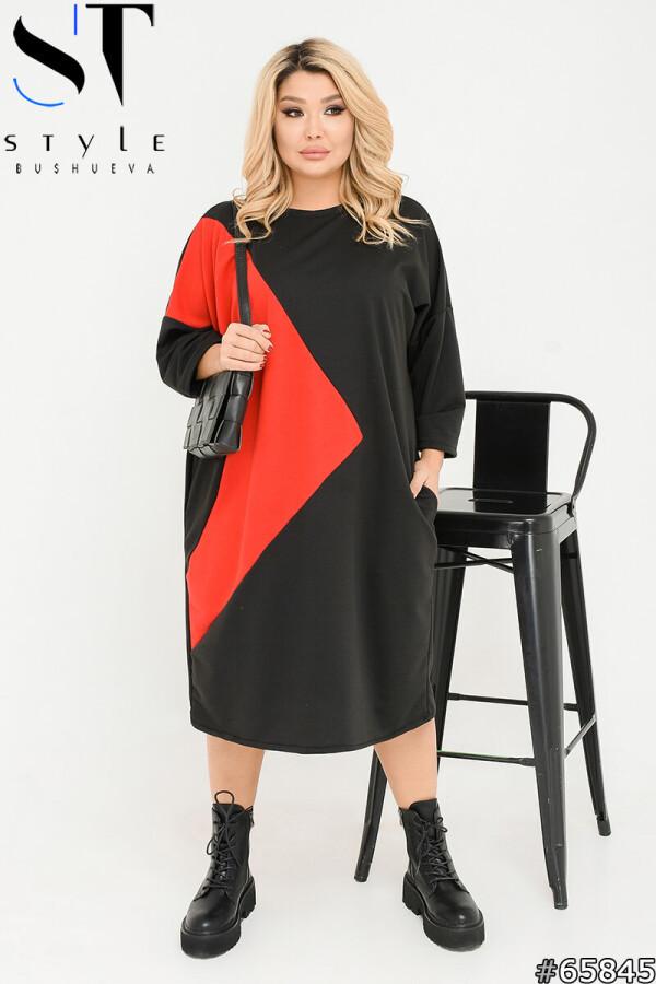 Вечірня сукня | двунитка | чорний-червоний | р-р 48-52,54-58,60-64