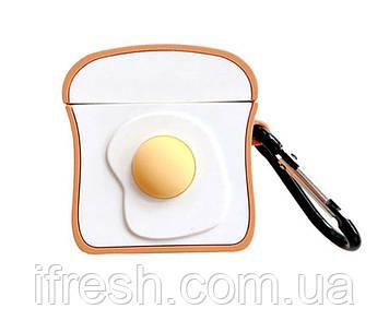 Чехол для Apple AirPods Toast and Egg 3D, силиконовый