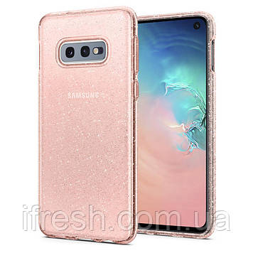 Чехол Spigen для Samsung Galaxy S10е Liquid Crystal Glitter, Rose Quartz (609CS25835)