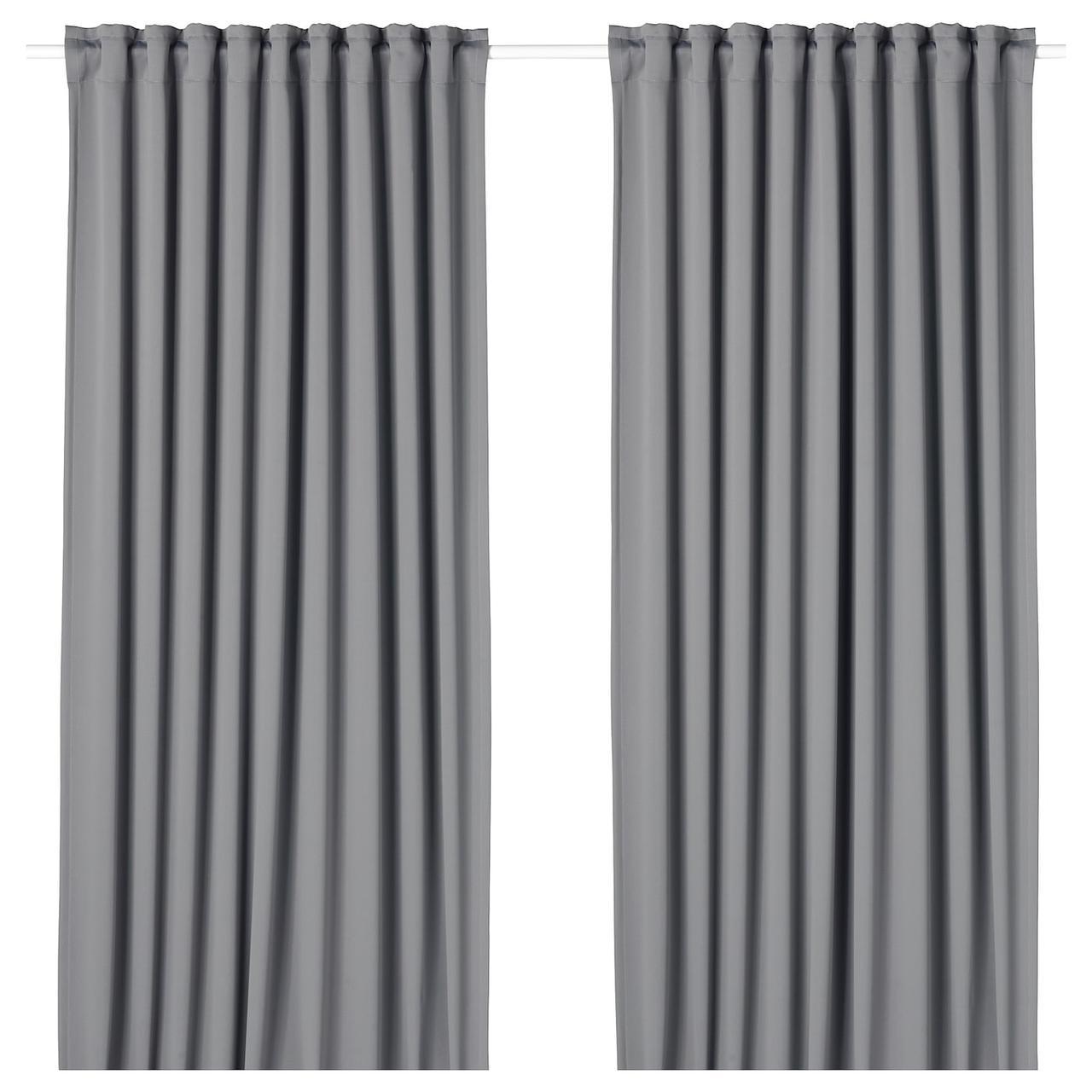 IKEA MAJGULL  Шторы плотные, 1 пара, серые (804.178.15)
