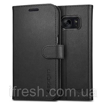 Книжка-Чехол Spigen для Samsung S7 Wallet S, Black