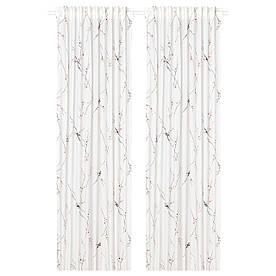 IKEA RÖDLÖNN Штора, 2 шт, біла квітка (404.879.52)