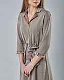 Трикотажное платье-рубашка с поясом бежевое., фото 2
