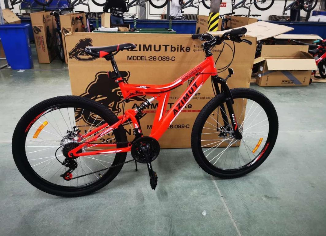 Спортивный двухподвесный велосипед 26 дюймов 18 рама MTB Azimut Blackmount  D красный