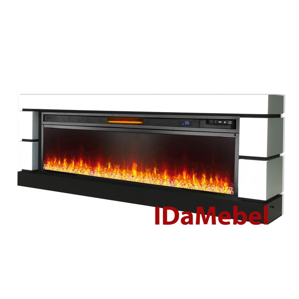 Каминокомплект IDaMebel Blanca визуализации пламени с обогревом, четыре уровня яркости пламени
