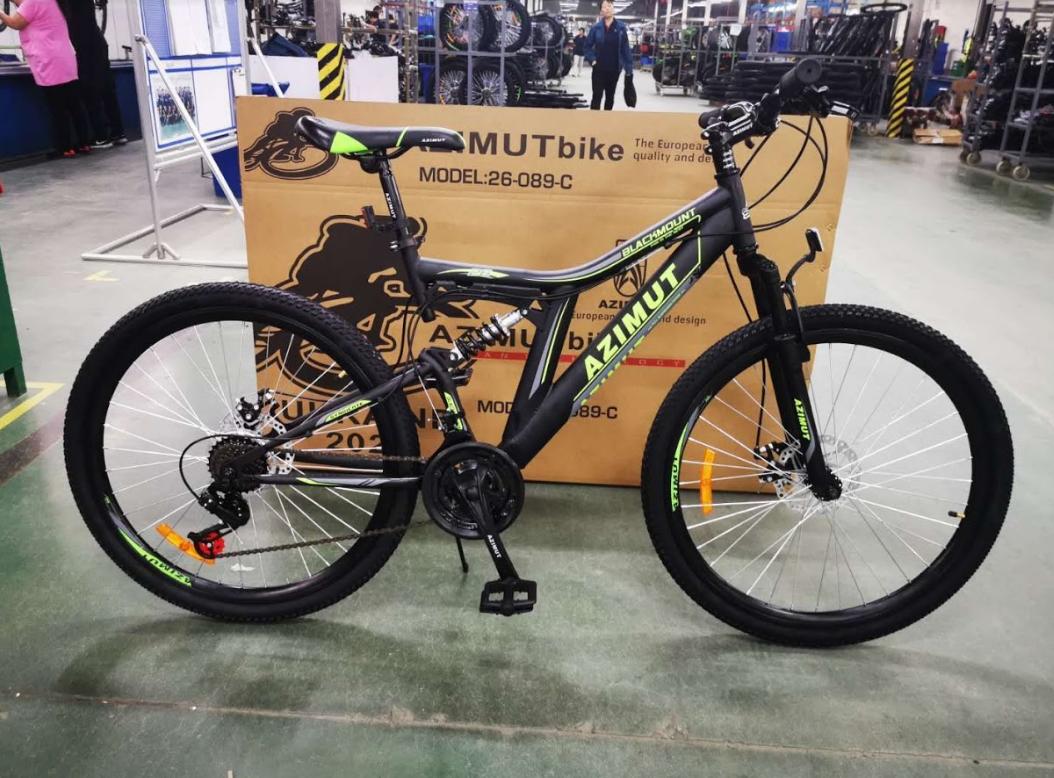 Спортивный двухподвесный велосипед 26 дюймов 18 рама MTB Azimut Blackmount D черно-зеленый