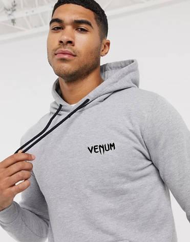 Чоловіча спортивна кофта кенгуру, толстовка Venum (Венум) сіра, фото 2