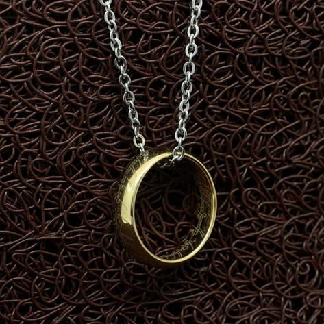 """Кольє кільце Всевладдя на ланцюжку з фільму """"Володар кілець"""" карбід вольфраму покриття золото, фото 2"""