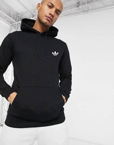 Чоловіча спортивна кофта кенгуру, толстовка Adidas (Адідас) чорна, фото 2