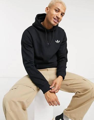 Мужская спортивная кофта кенгуру, толстовка Adidas (Адидас) черная, фото 2