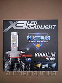 Комплект автомобільних LED ламп X3 H4 HeadLight
