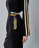 Черное облегающее платье миди с вставкми, фото 2