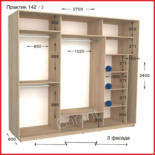 Шкафы купе ПРАКТИК 142-3 / ширина-2700/ глубина-450/600/ высота-2200/2400 (Гарант)