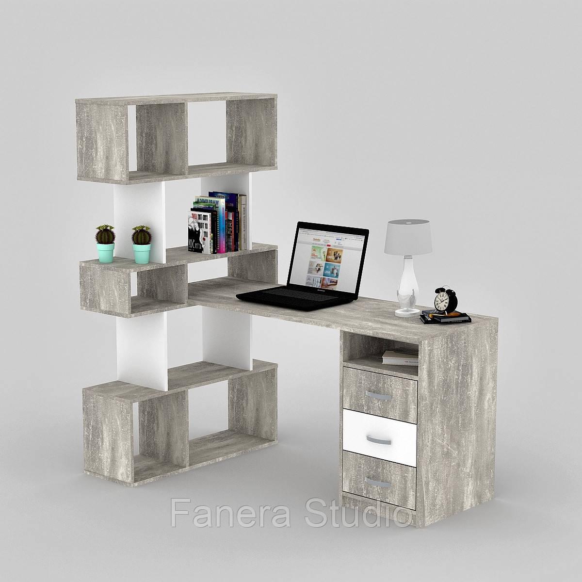 Комп'ютерний стіл FLASHNIKA LED 50 Бетон/Німфея Альба
