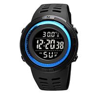 Часы наручные электронные Skmei 1681 с термометром черный дисплей синие