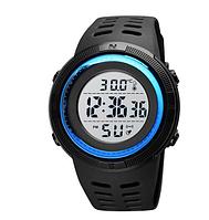 Часы наручные электронные Skmei 1681 с термометром белый дисплей синие