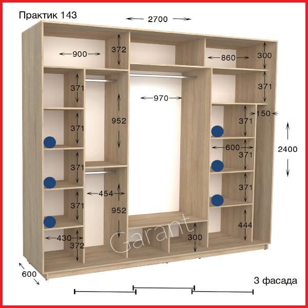 Шкафы купе ПРАКТИК 143 / ширина-2700/ глубина-450/600/ высота-2200/2400 (Гарант)
