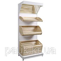 Стеллаж хлебный 1600х950 мм с деревянными корзинами приставной, Ристел