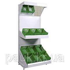 Стеллаж овощной торговый 1600х950 мм приставной Ристел