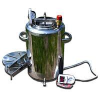 Автоклав электрический ЛЮКС на 14 банок из нержавейки, автоматический. Для консервирования тушенки.