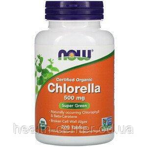 Хлорелла  200 табл 500 мг для детоксикации  иммунитета от анемии дисбактериоза противовирусное Now Foods USA