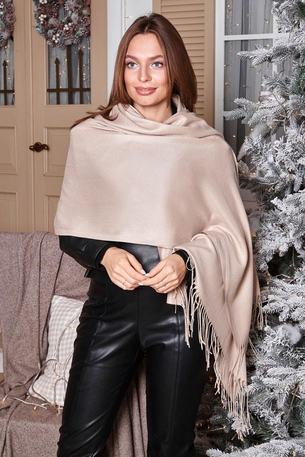 Женский однотонный кашемировый шарф- палантин.