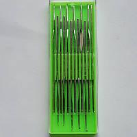 Крючки для вязания из нержавеющей стали в пластмассовой упаковке мелкие 12 штук