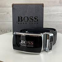 Мужской ремень Boss автомат, Брендовый черный ремень БОСС с пряжкой в коробке