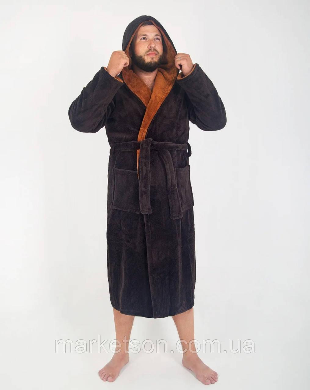 Мужской махровый халат с капюшоном р.48-56.Много размеров и цветов.