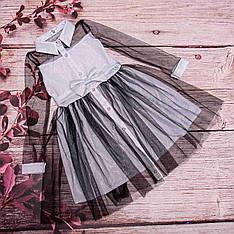Платье детское из серебристой ткани с блеском размеры 128-152