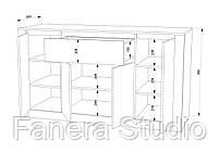 Комод для хранения с дверцами и ящиком без ручек из ДСП 130 см, фото 2