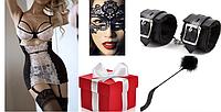Сексуальное белье с наручниками и маской и плетью БДМС, фото 1