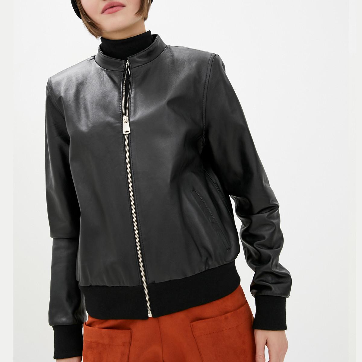 Шкіряна куртка-бомбер VK чорна (Арт. BM201)