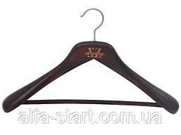 Деревянные коричневые плечики 44см с велюровой перекладиной Италия