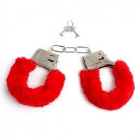 Меховые наручники красные, фото 1
