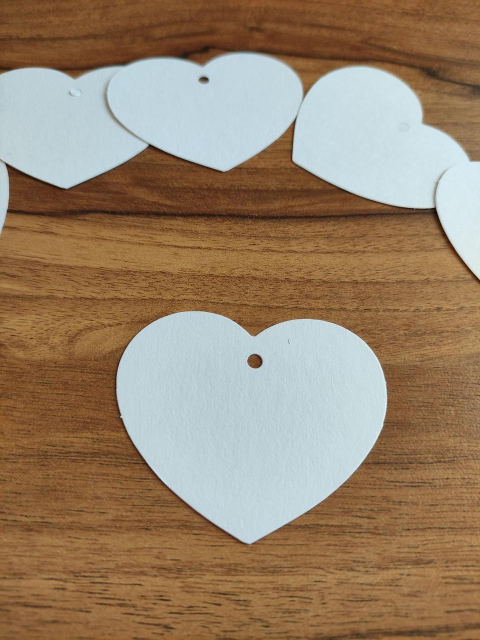 Бирка для подарков Сердце белое (0055)