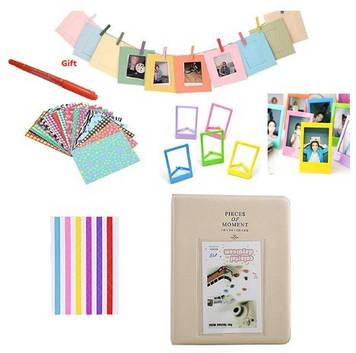Комплект Цветные наклейки + фотоальбом + фоторамки + маркерная ручка для камеры FujiFilm INSTAX, бежевый