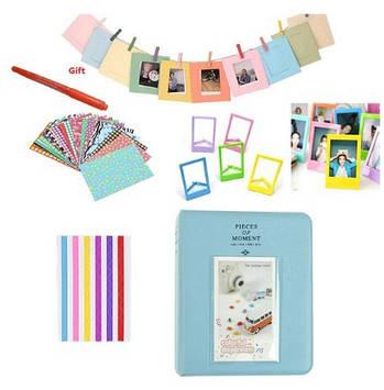 Комплект Цветные наклейки + фотоальбом + фоторамки + маркерная ручка для камеры FujiFilm INSTAX, голубой