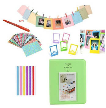 Комплект Цветные наклейки + фотоальбом + фоторамки + маркерная ручка для камеры FujiFilm INSTAX, зеленый