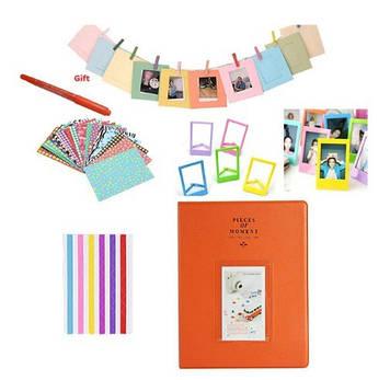 Комплект Цветные наклейки + фотоальбом + фоторамки + маркерная ручка для камеры FujiFilm INSTAX, оранжевый