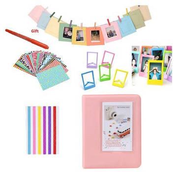 Комплект Цветные наклейки + фотоальбом + фоторамки + маркерная ручка для камеры FujiFilm INSTAX, розовый
