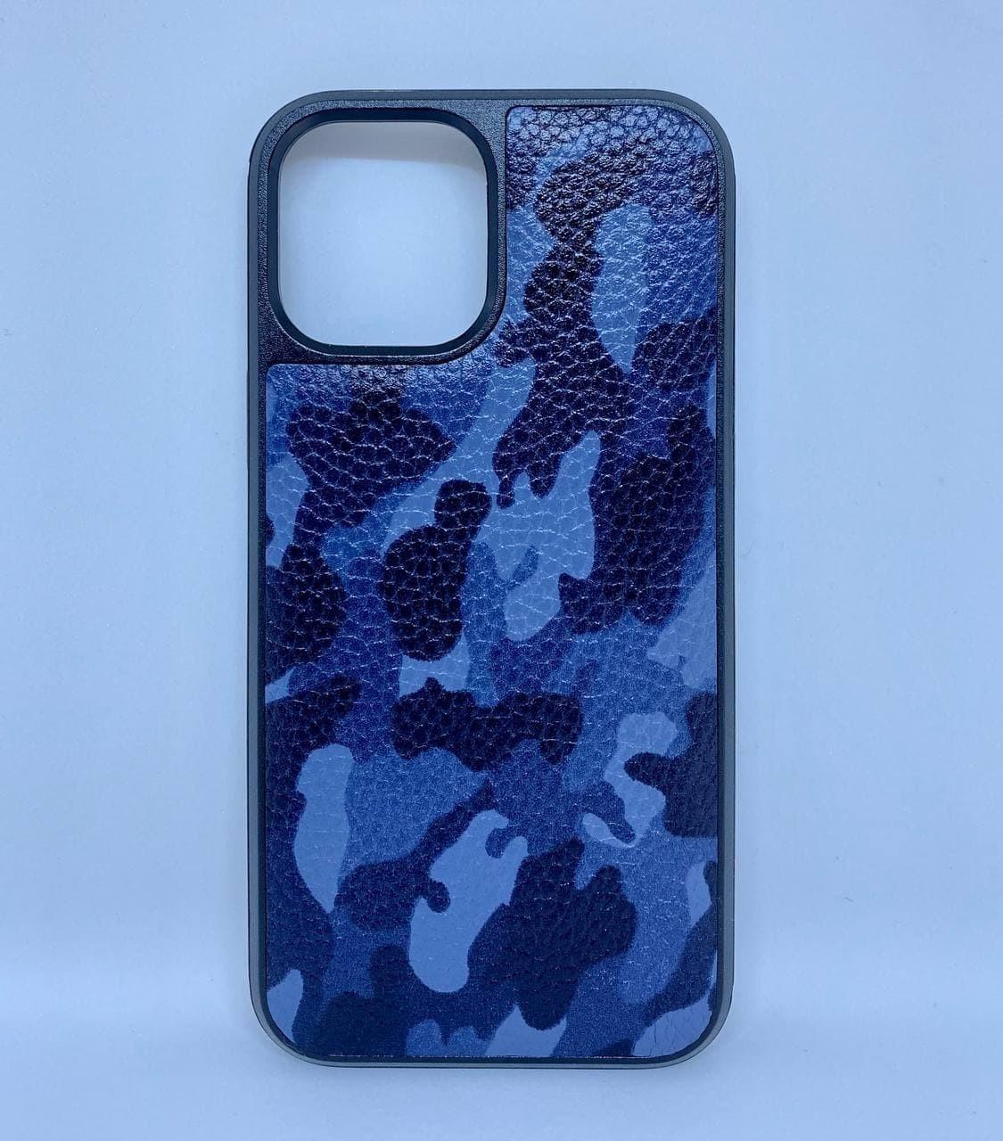 Чехол CaZe для iPhone 12 Pro Max из натуральной кожи синий камуфляж