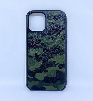 Чехол CaZe для iPhone 12/12 Pro из натуральной кожи зеленый камуфляж