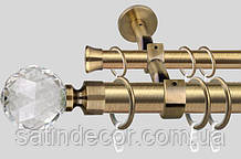 Карниз для штор металевий ЛЮМІЄРА подвійний 35+25мм 3.0 м Античне золото