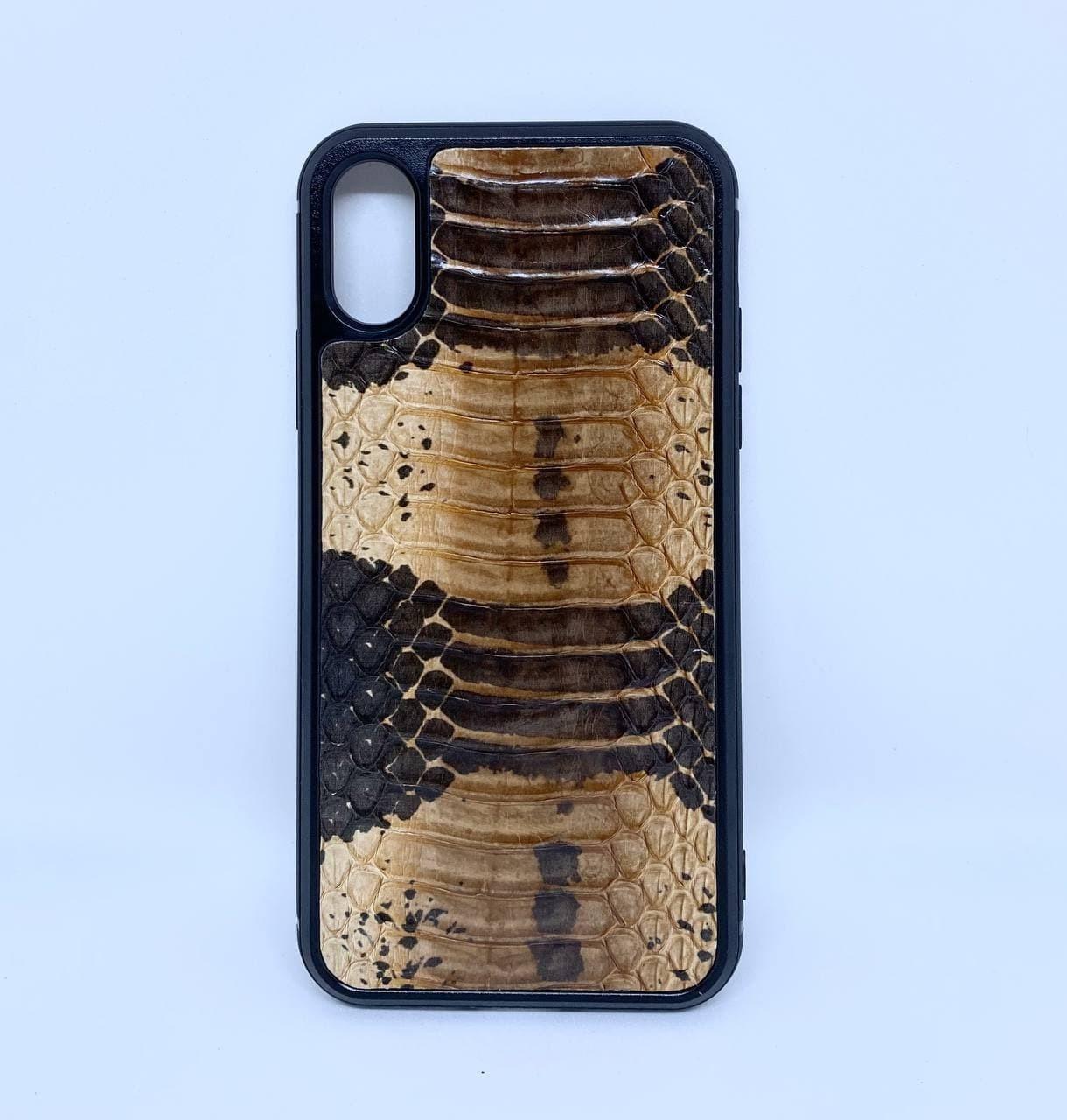 Чехол CaZe для iPhone X/Xs кожа Кобры коричневый