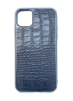 Чехол CaZe для iPhone 11 Pro Max с тиснением под крокодила Crazy Horse Black