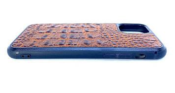 Чехол CaZe для iPhone 11 Pro Max с тиснением под крокодила Премиум коричневый