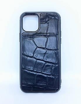 Чехол CaZe для iPhone 11 Pro с тиснением под крокодила черный крупная фактура